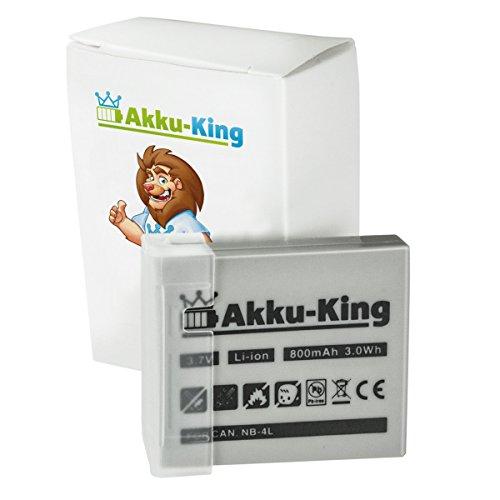 Akku-King Akku kompatibel mit Canon NB-4L - Li-Ion 800mAh - für Digital IXUS 70, 75, 100 is, 110 is, 120 is, 220 HS, SD1000 Powershot Sd30 Digital Elph Kamera