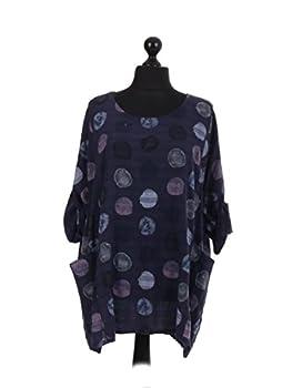 New Italian Ladies Women Lagenlook Polka Dots Cotton Tunic Top Plus Size 16-24 (Navy) 1