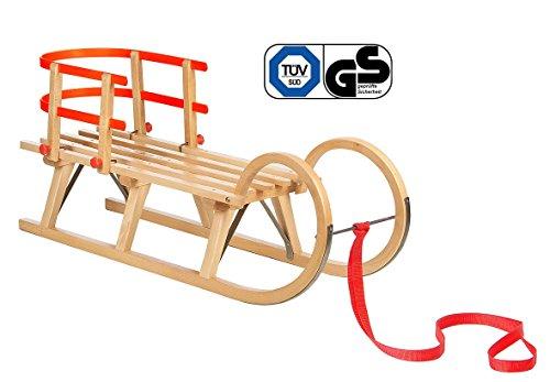 Impag® Klassischer Hörner-Schlitten Rodel | 100 - 125 cm lang | stabiles Buchenholz | belastbar bis 110 kg | mit Zuggurt und Sicherheits-Rückenlehne | TÜV geprüft