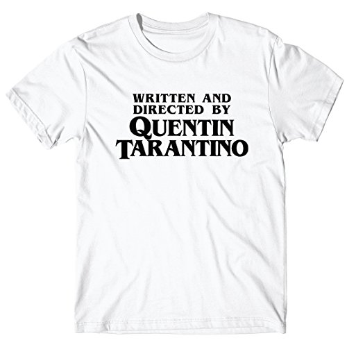 LaMAGLIERIA Camiseta Hombre Written and Directed by Quentin Tarantino - Camiseta 100% algodòn, S, Blanco