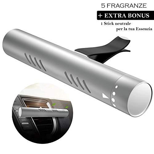 Ecotal Premium Auto Lufterfrischer/Duft-Spender für Lüftungsgitter aus Aluminium mit 5 verschiedenen Duftstäbchen oder für eigene Duftöle – automatische Verteilung durch Klimaanlage (Silber)