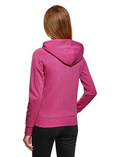 oodji Ultra Damen Kapuzenshirt mit Seitentaschen Rosa (4700N)