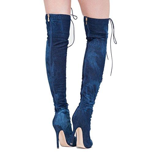 onlymaker damenmode sexy spitze an offenen peep - toe - denim kniehohe stiefel Blau