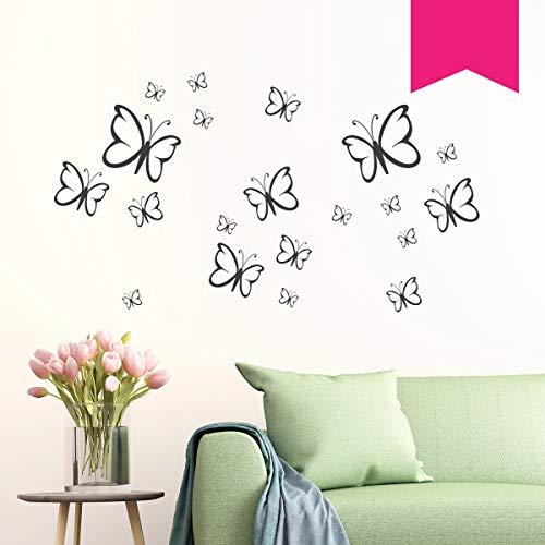 """Wandkings Wandtattoo \""""Schmetterlinge im Set, 20 Stück\"""" in pink - erhältlich in 33 Farben"""