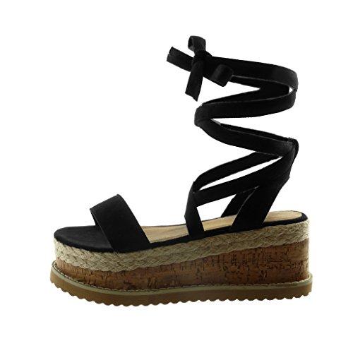 Angkorly Chaussures Mode Sandales Mules Cales Haute Femme Dentelle Corde Liège Coin Talon Plateforme 7 Cm Noir
