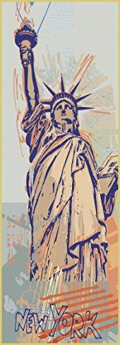 Bild mit Rahmen Rod Neer - Statue Of Liberty - Aluminium gold glänzend - 35 x 100cm - Premiumqualität - Landschaft, Cult, Kinder, Comic, Pop/Op Art, Pop Art, Städte - MADE IN GERMANY - ART-GALERIE-SHOPde
