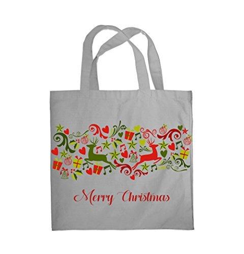 COLOUR FASHION Merry Christmas Jingle Bells Spesa Spiaggia Palestra Borsa di stoffa 0081 Grigio