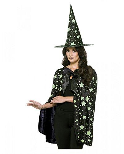 Hexen Hut und Umhang mit Sternen (Sterne Hut Hexe)