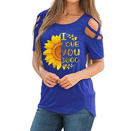 Urlaub Drucken Scrub Top (KIMODO T Shirt Damen Sonnenblumendruck Schulterfreie Schulter Bluse Top Kurzarm Sommer Oberteile Shirt