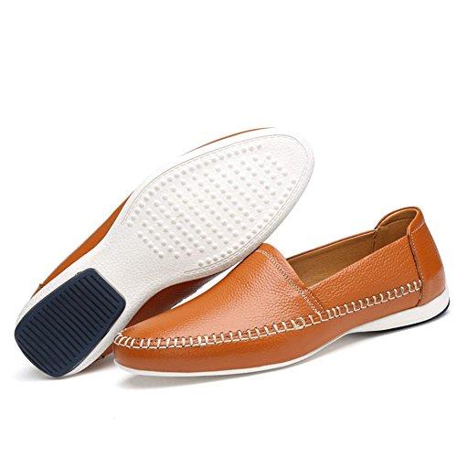 Mocassini Ailisharoy Car Slittamento Vera Ailishabroy Fannulloni Casuali Sui Shoes Gli Pelle Di Uomo In Per Arancione Uomini Guida Od0Hwqdn