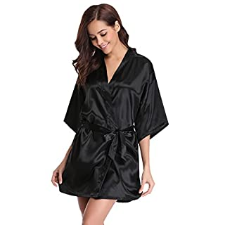 Aibrou Womens Kimono Robes Satin Nightdress Pure Colour Short Style with Oblique V-Neck, M(UK 10-12), Black