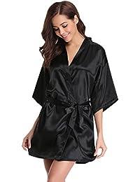 Aibrou Damen Morgenmantel Kimono Satin Kurz Robe Bademantel Nachtwäsche Sleepwear V Ausschnitt mit Gürtel