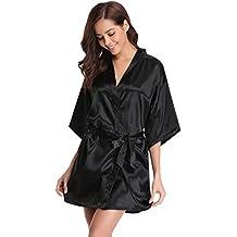 Aibrou Kimono Mujer Bata Corto sexy y elegante de Aspecto Brillante Pijamas Albornozes Camison mujer Suave,Cómodo,Sedoso y Agradable