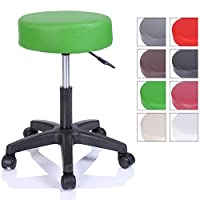 TRESKO® Swivel chair Office stool Beauty salon stool Medical stool Rollable stool, Adjustable height, with Wheels, 360 degree rotation, 10 cm cushion, 8 colours (Green)