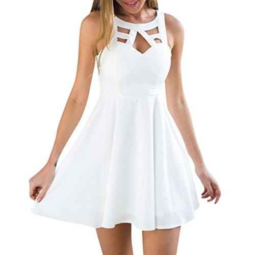 Hot! Damen Kleid Yesmile Frauen Sommer V Neck ärmellose Cocktail Party Kleid Pink Solid Sexy Minikleid über Knie Mini Rock mit Zipper Sommer Mode Party Kleidung Streetwear (2XL, Weiß) -