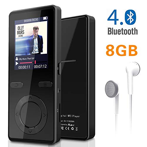 MP3 Player Bluetooth,Haice Mp3 Player,MP3-Player Musik-Player Mit kompatibel HiFi,Digitales Audio-Player integrierte Kapazität 8GB mit FM Radio/Voice Recorder / 46 mm LED-Display/Portabler Player