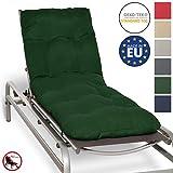 Beautissu Cojín colchón Flair RL Acolchado para Tumbona de jardín y Playa 190x60x8cm Copos de gomaespuma - Verde Oscuro Elegir