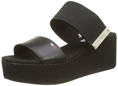 Hilfiger Denim Damen Material Mix Flatform Sandal Plateausandalen, Schwarz (Black 990), 41 - Schuhe Keil Sandalen Stoff Damen