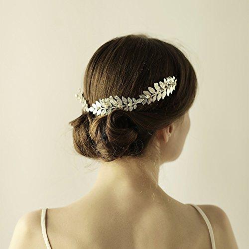 Griechisch Silber Blatt Stirnband Tiara oumoutm römischen Brautschmuck Krone Haar Zubehör (Griechische Toga Kostüme)