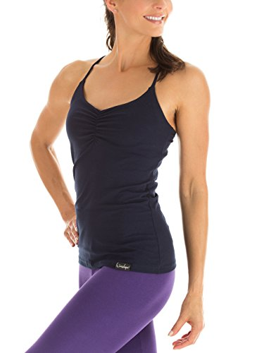 Winshape Damen Spaghetti Strap Top Fitness Yoga Pilates Night Blue, S Blue Spaghetti Strap