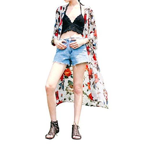 xhorizon FM8 Klassische gestreifte Bikini aus Chiffon Bademode Badeanzug mit Quaste und Vertuschung Weiß