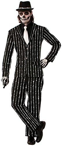 Forum Novelties AC628 Anzug mit Nadelstreifen und Knochen-Design (Tag Der Toten Für Erwachsene Standard Kostüm)