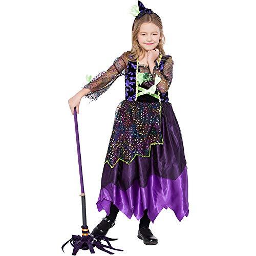 Uiophjkl Persönlichkeit Kinder Hexen Halloween Kostüm Mädchen Farbige -