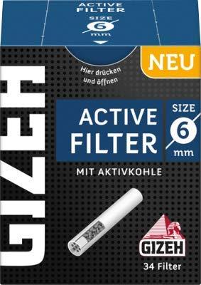Gizeh 136 x Active Tips Slim Aktivkohlefilter 6mm 4x34er Filtertips -