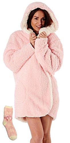 i-Smalls Frauen Weiche und Gemütliche Kapuzen-Reversible Snuggle Robe in flauschigen Sherpa Fleece mit Passenden Socken (Einheitsgröße) Rosa/Elfenbein (Fleece Rosa Robe)