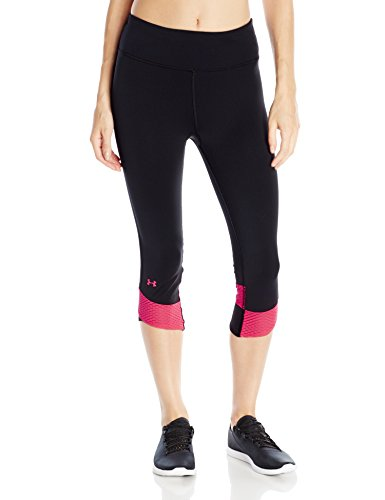 Under Armour Damen Legging Fly By Compression Capri, Black/Brl/Ref, L (Heatgear Legging Compression Fit)