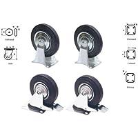 4 tlg Set Rollen 2x Lenkrolle Bremse + 2 Bockrolle 100mm je max 60kg
