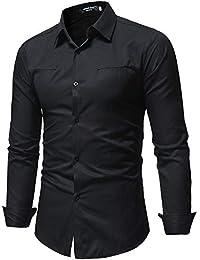 9a4f940741f CIPOPO - Camisa Casual - con Botones - Manga Larga - para Hombre