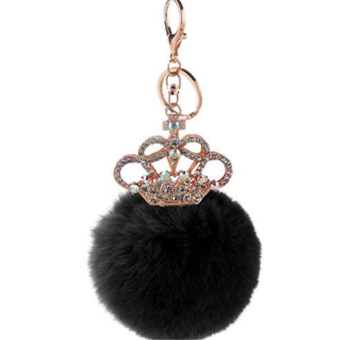 schlüsselanhänger damen plüsch ball Taschenanhänger strass Krone bommel Keychain Elegant Plüsch-Kugel Auto-Anhänger Pompom Weich Schlüsselring Multi-Farbe (Schwarz) - Multi Farbe-plüsch