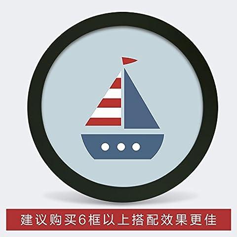 Photo Frame parete fumetto creativo cornice rotonda famiglia soggiorno camera da letto TV decorazioni a parete immagine di sfondo frame , piccolo cerchio bianco (diametro) ,3 19cm