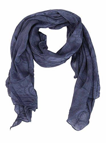 Zwillingsherz Zwillingsherz Seiden-Tuch für Damen Paisley Muster - Made in Italy - Eleganter Sommer-Schal für Frauen - Hochwertiges Seidentuch/Seidenschal - Halstuch und Chiffon-Stola Dezentes Muster navy