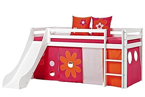 Hoppekids Basic-A5-1 Flower Power Textile und Matratze Halbhohes Bett mit Rutsche, Spiel-/Junior-/Kinder-/Jugendbett, Kiefer massiv, Liegefläche 90 x 200 cm, Holz, weiß, 208 x 105 x 195