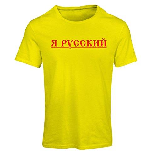Frauen T-Shirt ЯРусский - Ich bin russisch, Россия, Vladimir Putin (Medium Gelb Mehrfarben)