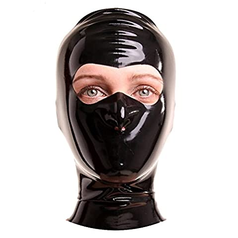 EXLATEX latex caoutchouc fetish Accessoires Masque c?tel¨¦ avec fermeture ¨¦clair avec les yeux coup¨¦s et