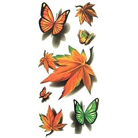 F&HY&L Moda impermeabile colorato lo spostamento temporaneo 3 d acero foglia cinese ristorante Butterfly tattoo adesivi