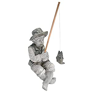 Design Toscano Frederic the Little Fisherman of Avignon Boy Fishing Garden Statue, 38 cm, Polyresin, Two Tone Stone