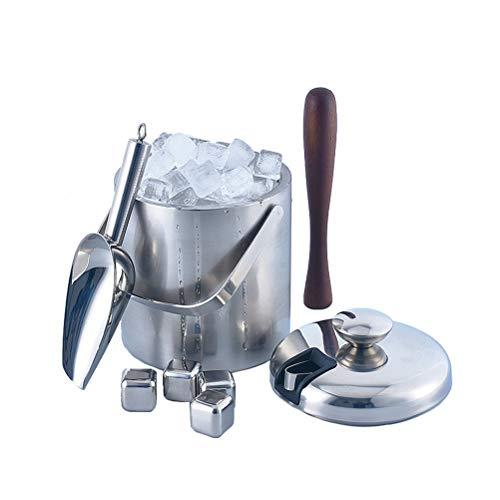 Doppelstöckiger Eiswürfelbehälter Edelstahl Eiseimer Eisbehälter mit Zange und Deckel sowie 4 Wiederverwendbare Eiswürfel,1.3L -