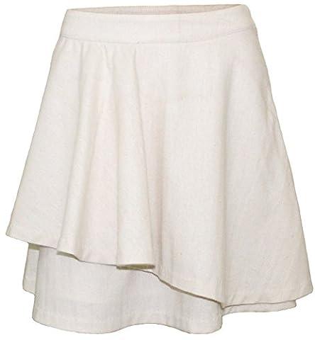 Attuendo Femmes volants laine mélangée Plongée Mini-jupe (Ivory, Large (Waist: 32 Inches))
