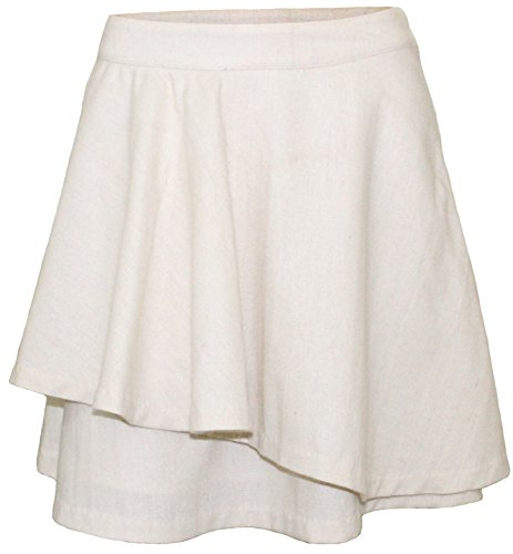 Attuendo da donna increspato misto lana Scuba Minigonna (Large (Waist:32 Inches), Ivory)