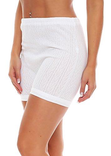 3er Pack Damen Slip mit Bein, weiß Muster (Schlüpfer, Unterhose) (4209 HOA) ( Weiß / 56/58 ) - 2