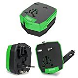 DMG Universal World Travel Charger All-in-one UK/EU/US/AUS Plugs Safety World Travel Adapter Dual USB Ports World Travel Charger(Green)