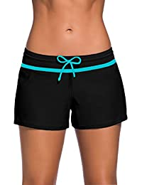 YoungSoul Shorts de bain femme - Maillot de bain boxer cordon de serrage - Tankini shorty - Uni - Bas de maillots