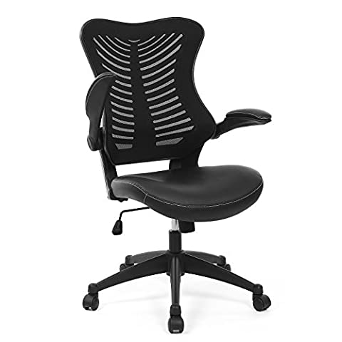 Songmics Mesh Office Computer Swivel Chair with Butterfly Shape Backrest PU + Mesh Black OBN82B