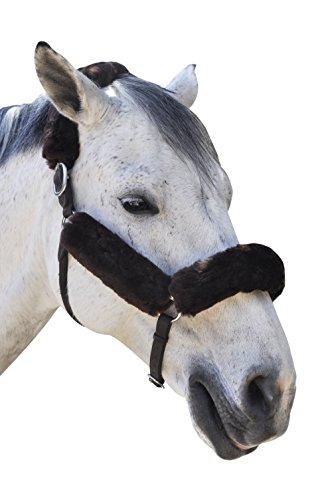 ECP Merino Lammfell Halfter Fleece Set für Pferd Schutz und Relief, 4Stück, braun - 5/4 Western Leder