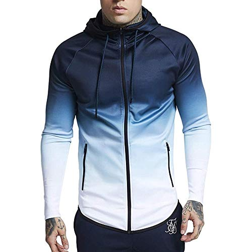 Doublehero Herren Mode Gradual Farbe Kapuzenpullover Langarm Sportwear, Herbst Fitness Workout Jacke Slim fit Hoodie Sweatjacke Freizeit Pullover Sweatshirt (Jacke Fitness)