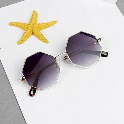 MoHHoM Sonnenbrillen Für Kinder,Neue Kinder Metallrahmen Sechseckige Sonnenbrille Für Jungen Mädchen Geschenk Sonnenbrille Anti Uv-Graue Gläser